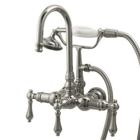Water Creation 3 Handle Vintage Claw Foot Tub Faucet With Hand Shower And Porcelain Cross Handles In Polished Nickel Pvd F6 0006 05 Px In 2020 Tub Faucet Wall Mount Tub Faucet Faucet