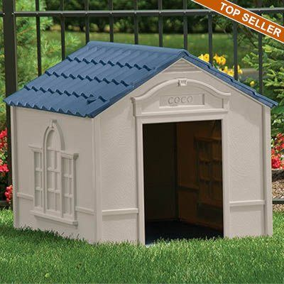 Large Dog House Taupe With Blue Roof Sudh350 Large Dog House