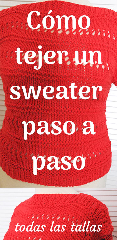 Teje un jersey/suéter fácil/rápido en dos agujas | Patrones Crochet ...