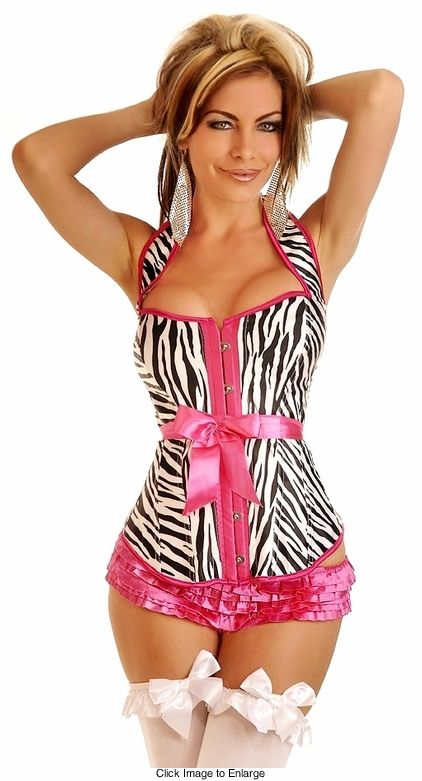 b2cd9b5c1e2 Zebra Halter Corset with Lace-Up Back (available up to size 2X ...