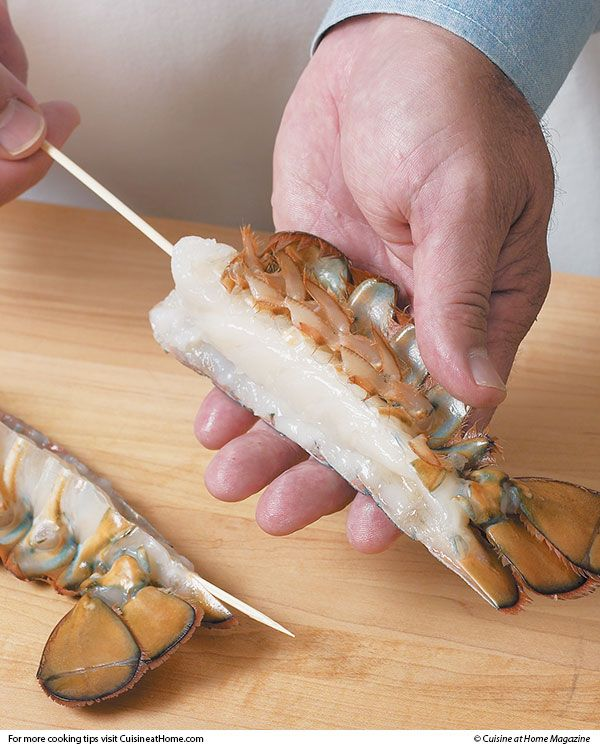 It's nice to keep lobster tails straight for looks, but skewering the tails before steaming them ...