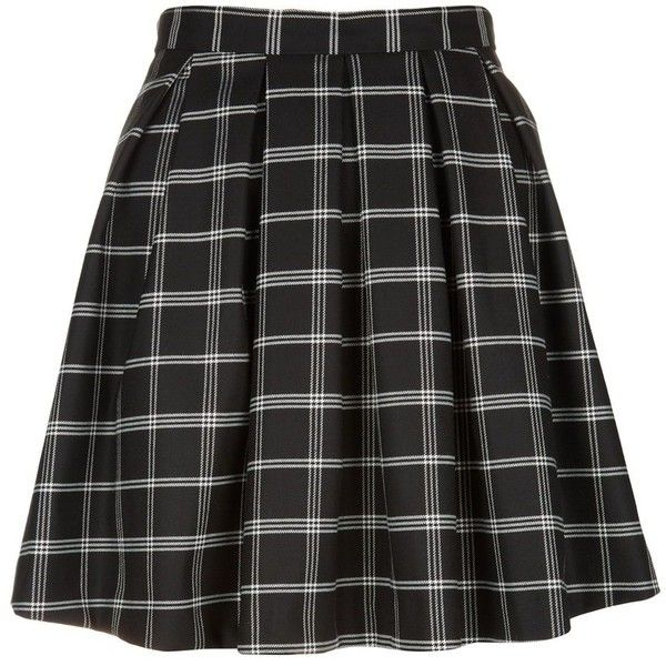 Black Grid Check Pleated Skater Skirt (€9,24) ❤ liked on Polyvore featuring skirts, bottoms, black pattern, print skater skirt, circle skirts, patterned skater skirt, patterned skirts and print skirt