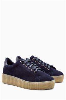 נעלי פלטפורמה ישרה עם שרוכים