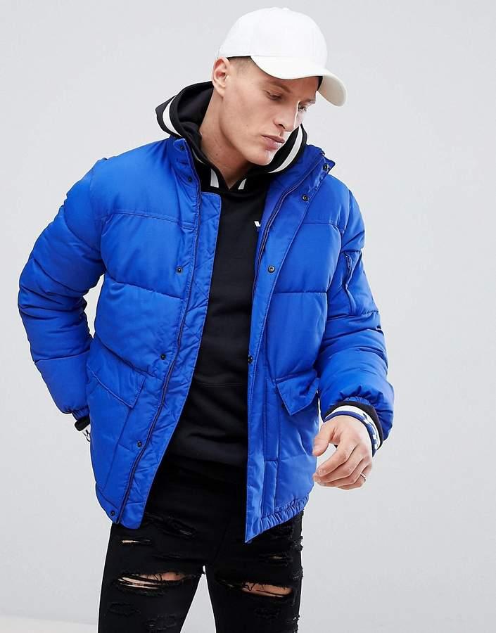 valvola lotto Viale  Bershka Puffer Jacket In Blue | Blue puffer jacket, Jackets, Puffer jacket  outfit