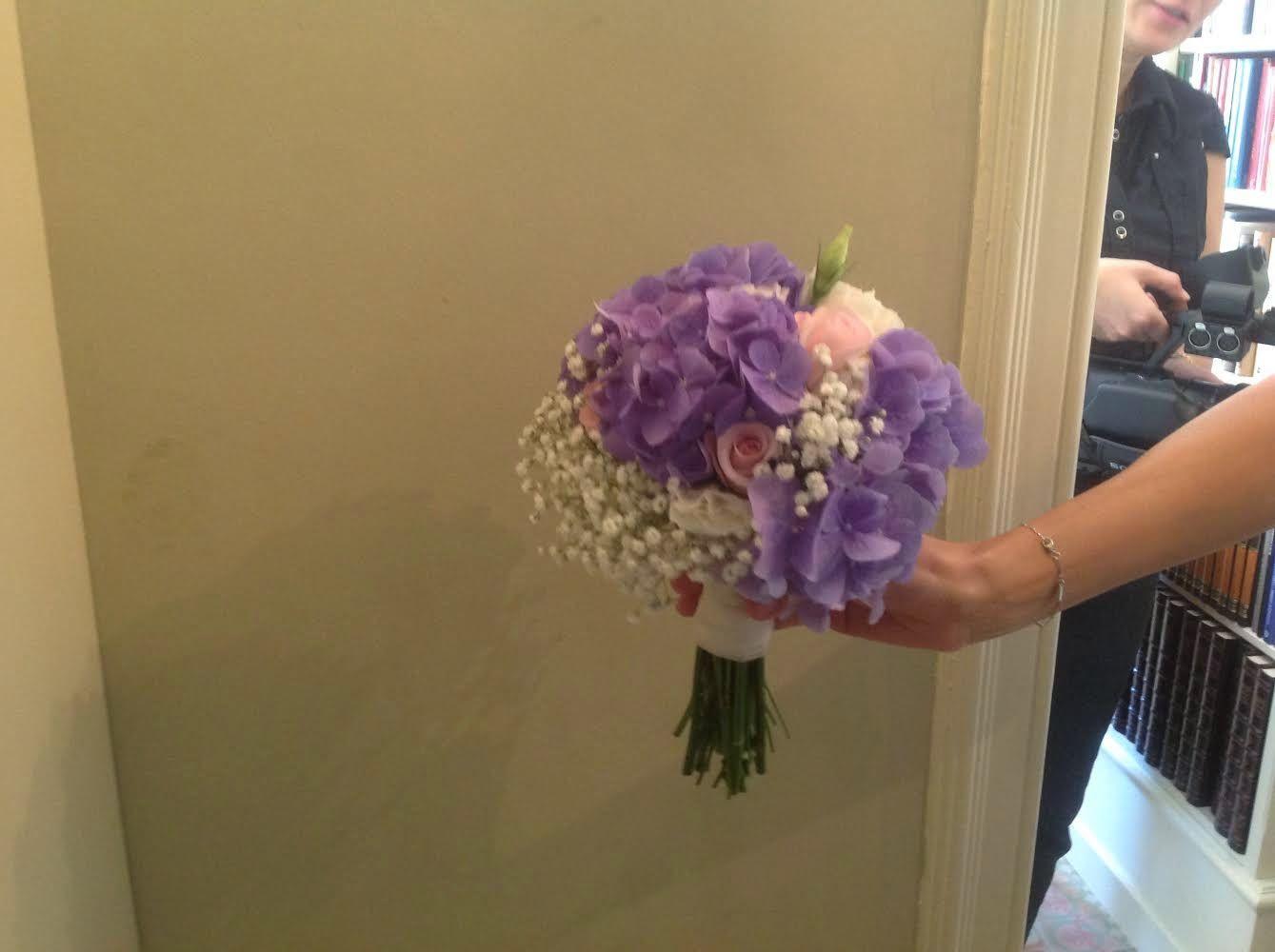 Ramo novia con Hortensia azul