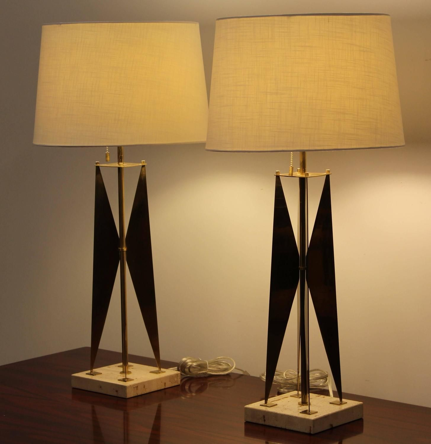 Pair of gerald thurston style brass and travertine marble lamps pair of gerald thurston style brass and travertine marble lamps 1970 geotapseo Image collections