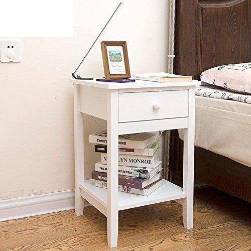 Best Fjiwdtgyhfgt Modern Minimalist Mini Nightstand Wide White 400 x 300