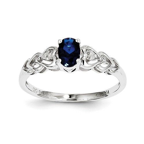 Sterling Silver Created Blue Sapphire & Diamond Accents Hearts Ring