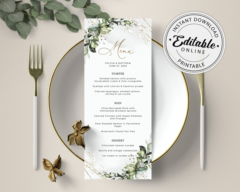 Greenery Foliage Wedding Bridal Shower Brunch Dinner Printable Editable Download Templates INSTANT DOWNLOAD Wedding Menu Cards Template