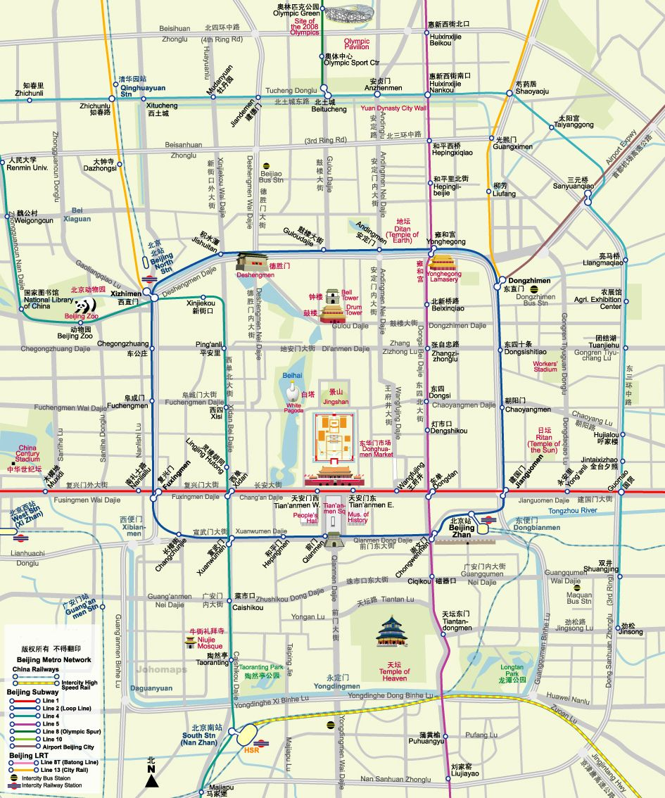 2017 Beijing Subway Map.Beijing Attractions Map Maps In 2019 Beijing Subway Beijing