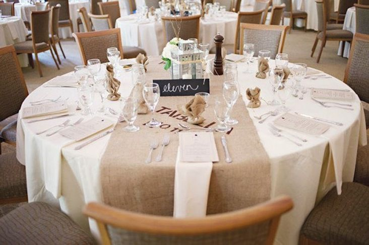 Burlap Runner On Round Table | Recycled Burlap Wedding Reception Table