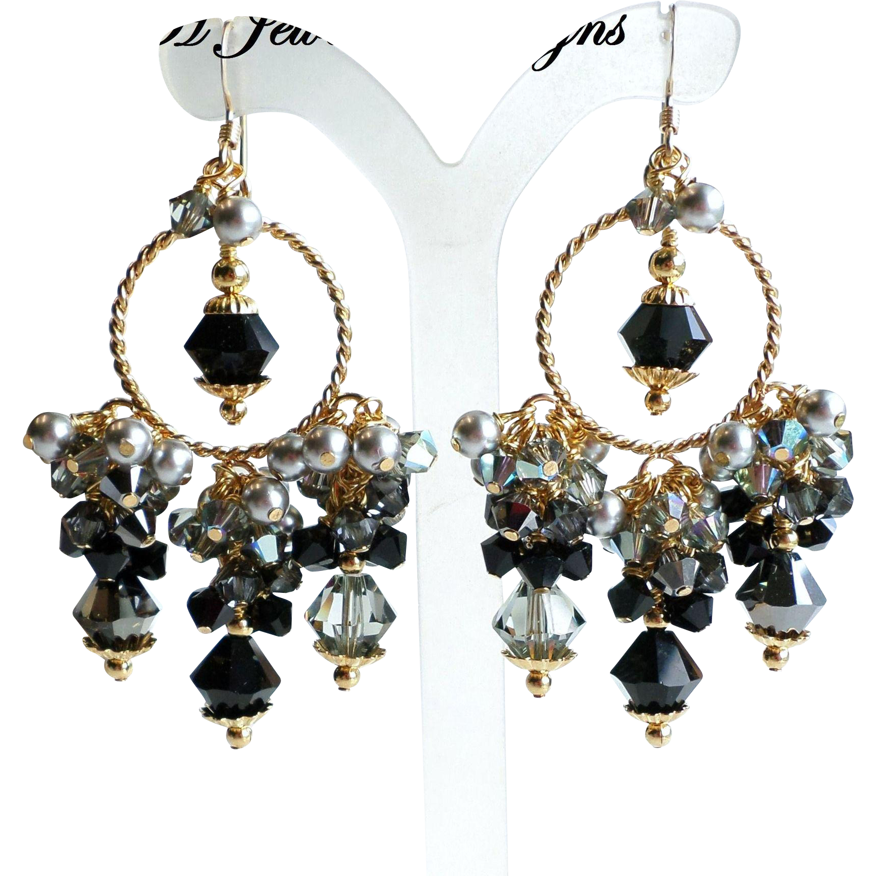 Black gray and silver swarovski crystal and faux pearl chandelier black gray and silver swarovski crystal and faux pearl chandelier earrings just a few more arubaitofo Image collections