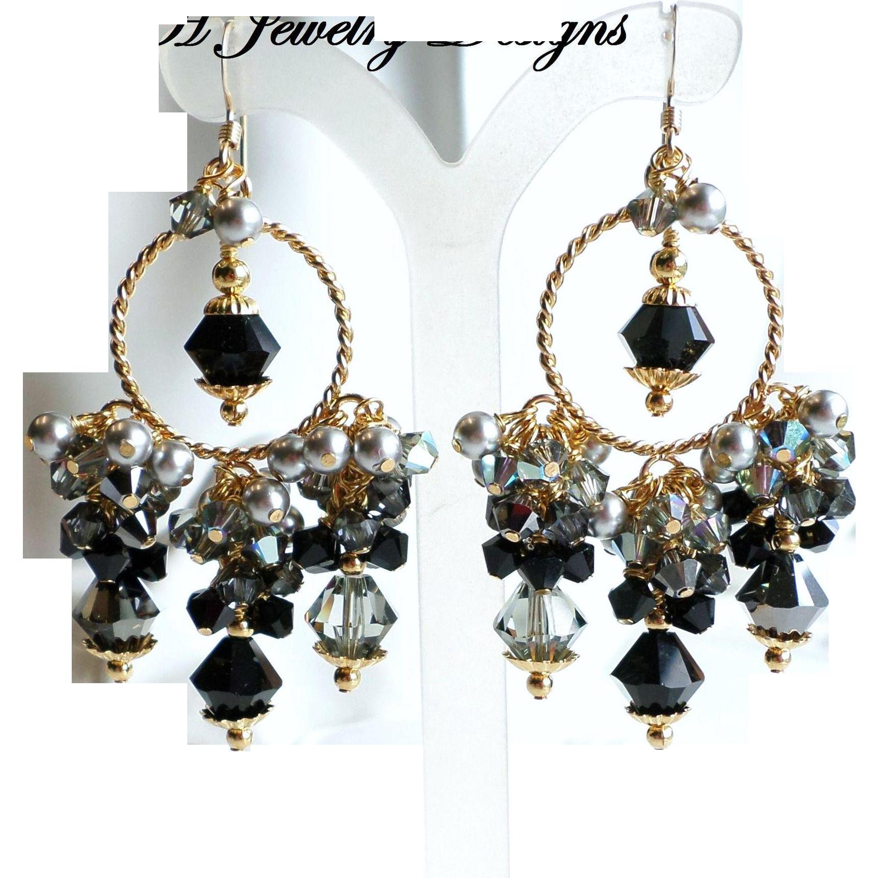 Black gray and silver swarovski crystal and faux pearl chandelier black gray and silver swarovski crystal and faux pearl chandelier earrings just a few more arubaitofo Gallery