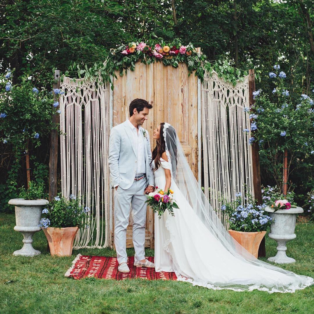 Breathtaking Bohemian Outdoor Wedding Altar: Macrame Wedding Arch Rustic Bohemian 2018 Backdrop Custom