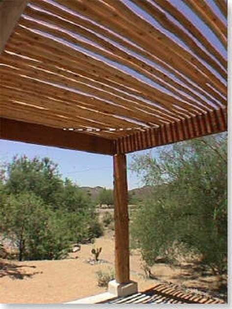 Santa Fe Southwest Patio Has Dry Hand Peeled Pine Latillas