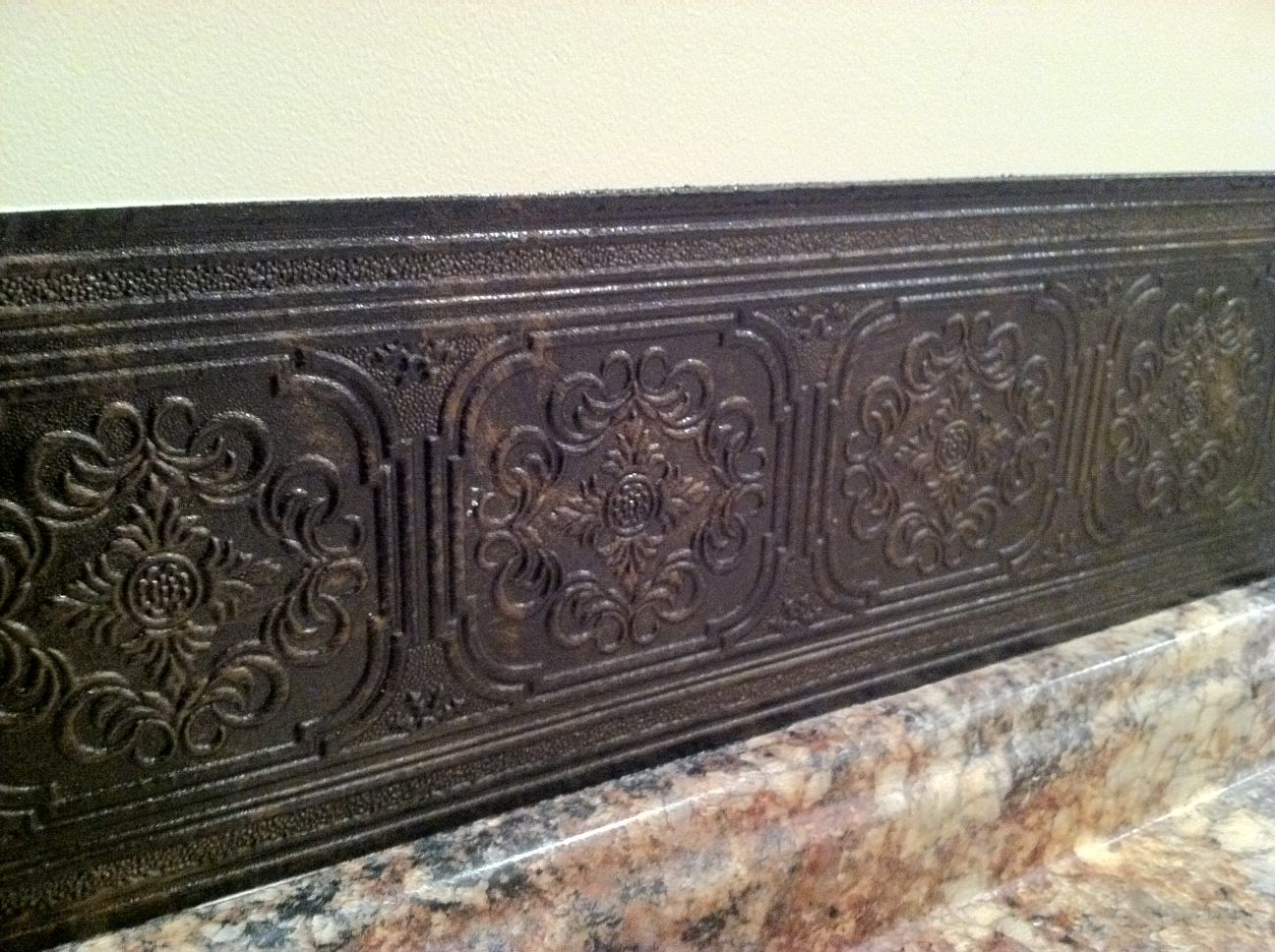 Backsplash idea! Paintable wallpaper with a faux metallic