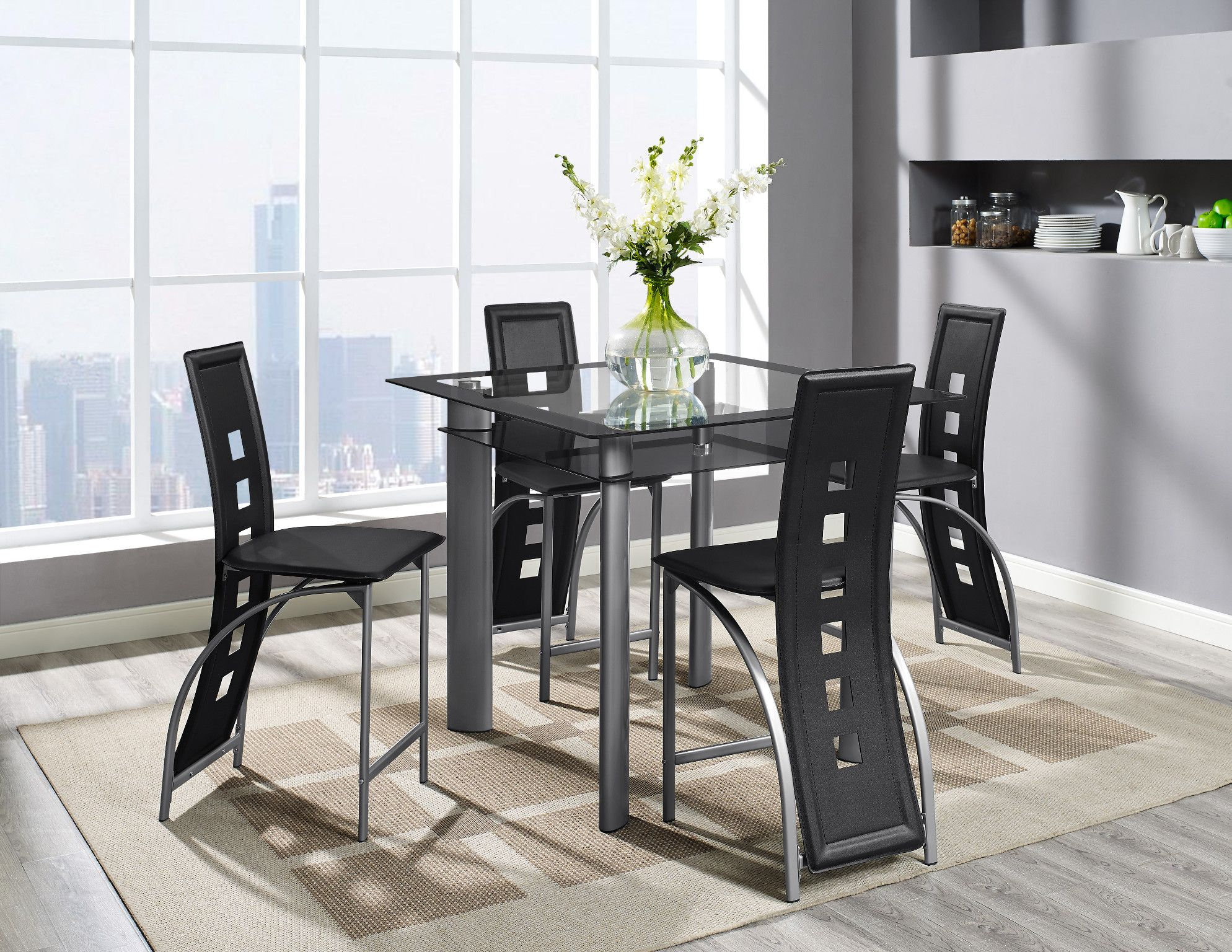 Echo 5 Piece Two Tier Counter Height Table And 4 Chairs 399 00
