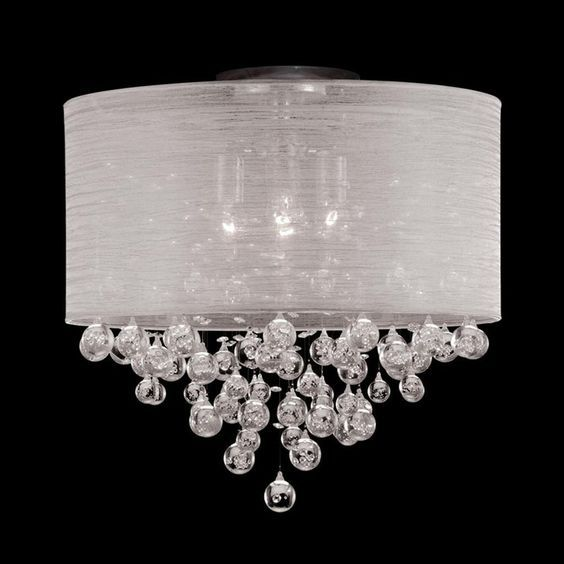 New 4 lamp drum shade crystal flush mount ceiling light lighting dia new 4 lamp drum shade crystal flush mount ceiling light lighting dia 20 mozeypictures Gallery