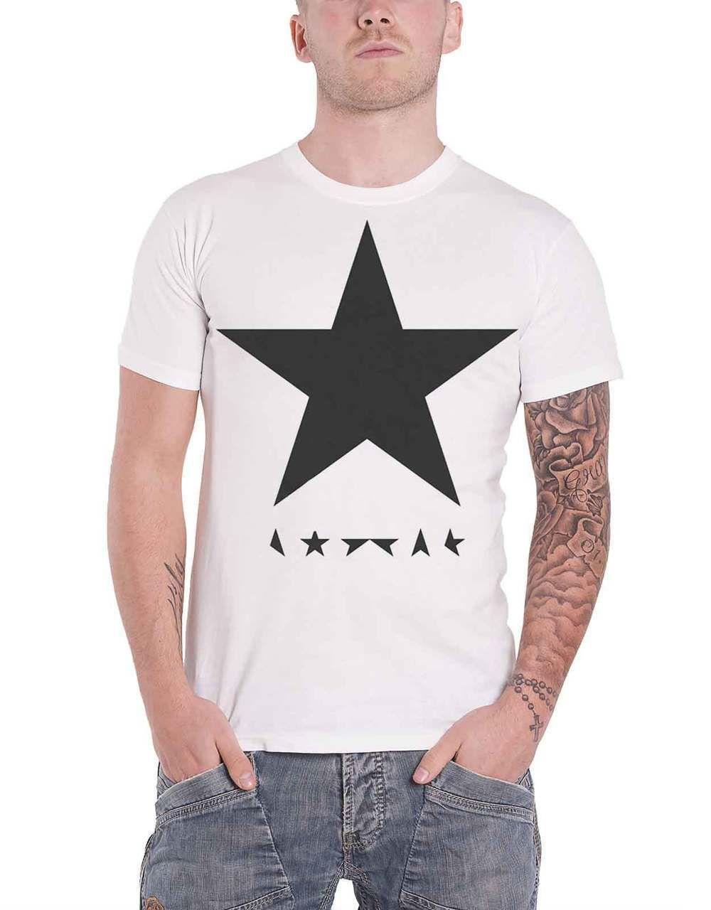 ab6df75f59 David Bowie T Shirt Blackstar Logo Album Cover Mens White - Paradiso  Clothing