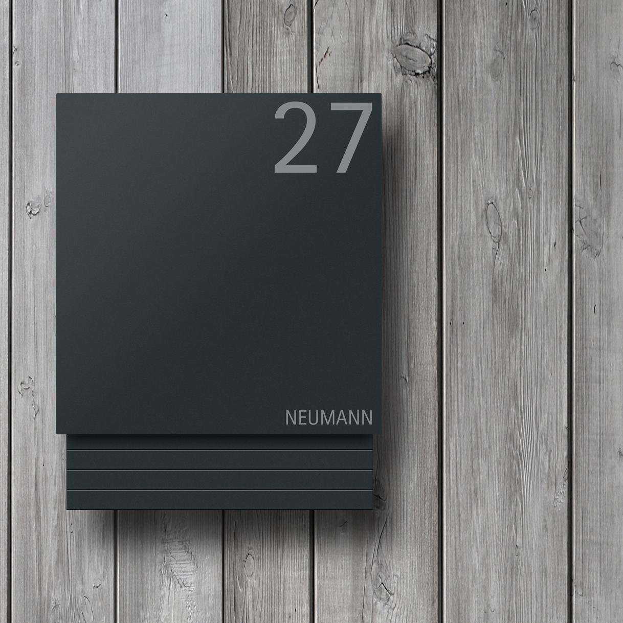 Moderner Design Briefkasten Anthrazit Mit Beschriftung Hausnummer