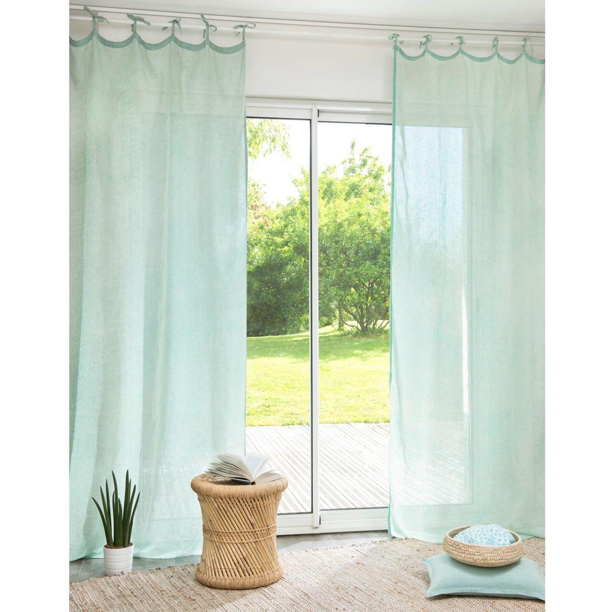 Rideau en lin vert 105 x 240 cm WASH | Maisons du Monde | Bedroom ...