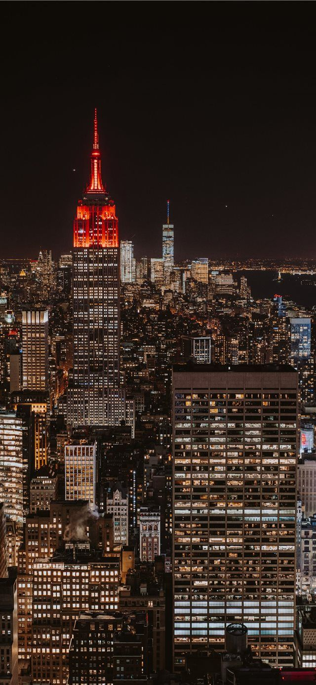 Bright New York Skyline Iphone X Wallpaper Night Sky