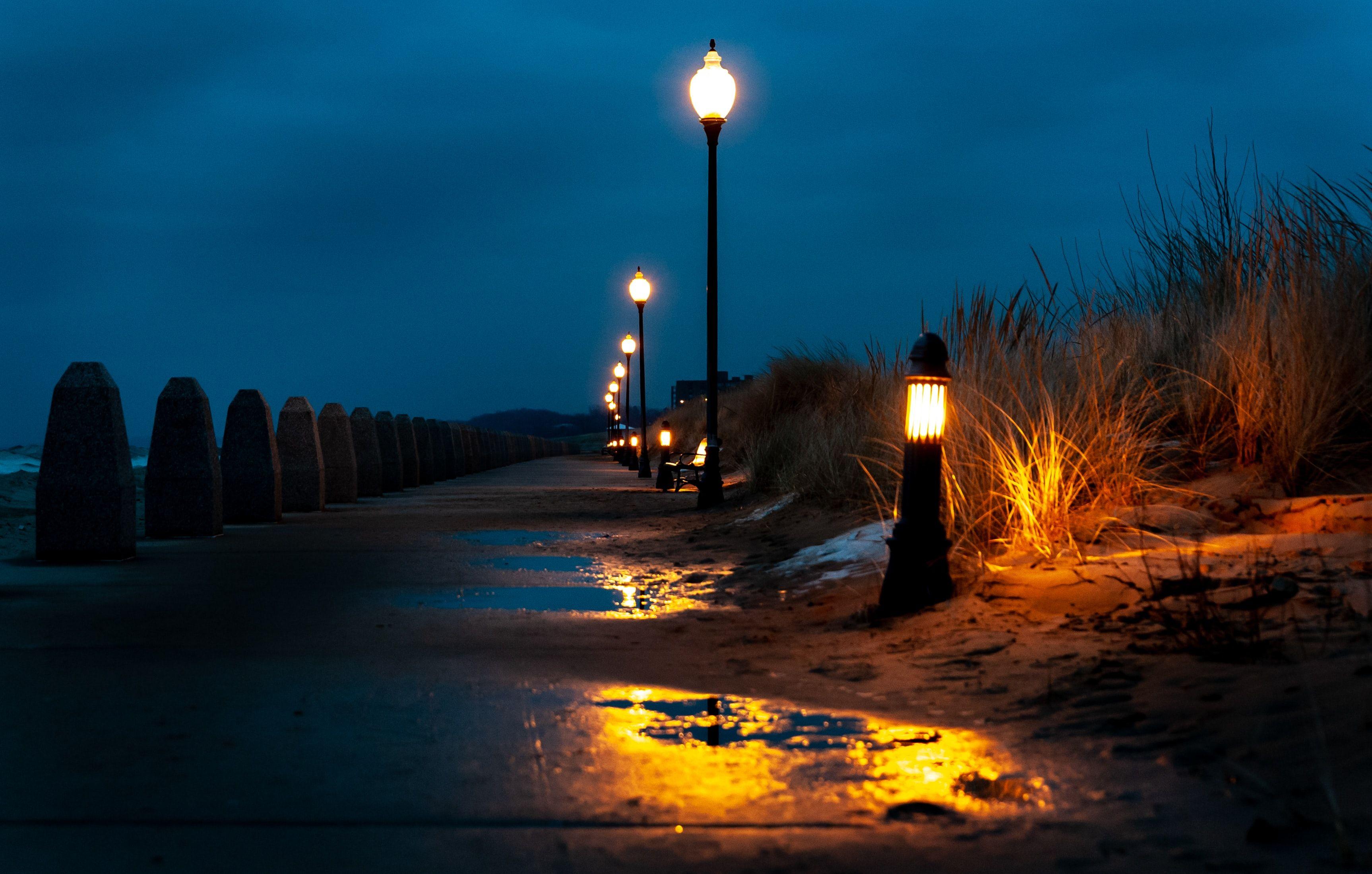 Street Light Turned On During Nighttime Street Light Night Time