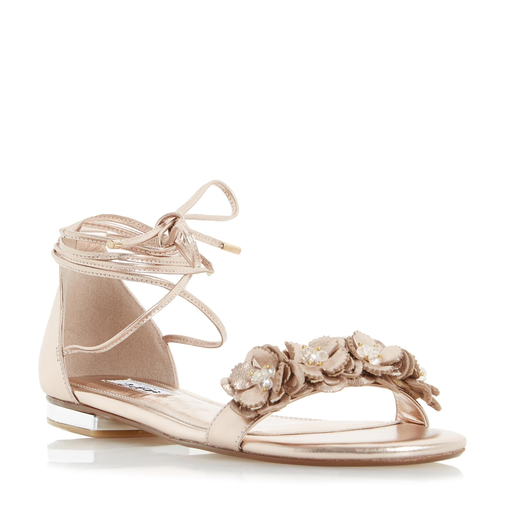 DUNE LADIES NIGELLA - Ghillie Lace Up Flower Trim Flat Sandal - rose gold |  Dune
