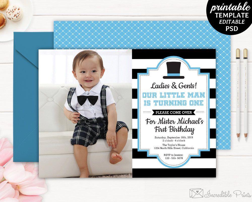Gentleman Birthday Invitation Boy First Birthday Invite