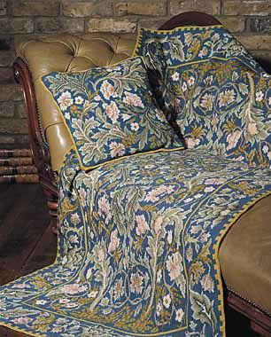 William Morris' Acanthus pattern turned into needlepoint kits by Beth Russell.