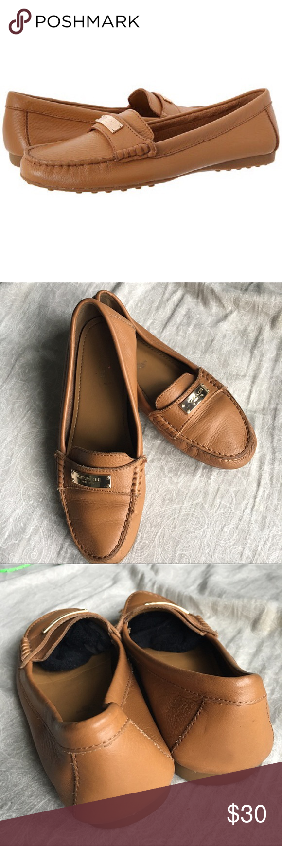 768f7e5b97e Tan coach Fredrica loafers Very classy tan leather coach loafers with coach  logo plate on the top. Ribbed rubber bottom for long lasting quality.