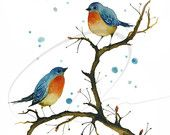 Warm Inside - Watercolor Art Print English robins cute blue love birds red breas...