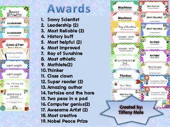 End Of The Year Awards Editable Teacher Awards Kindergarten Awards Classroom Awards