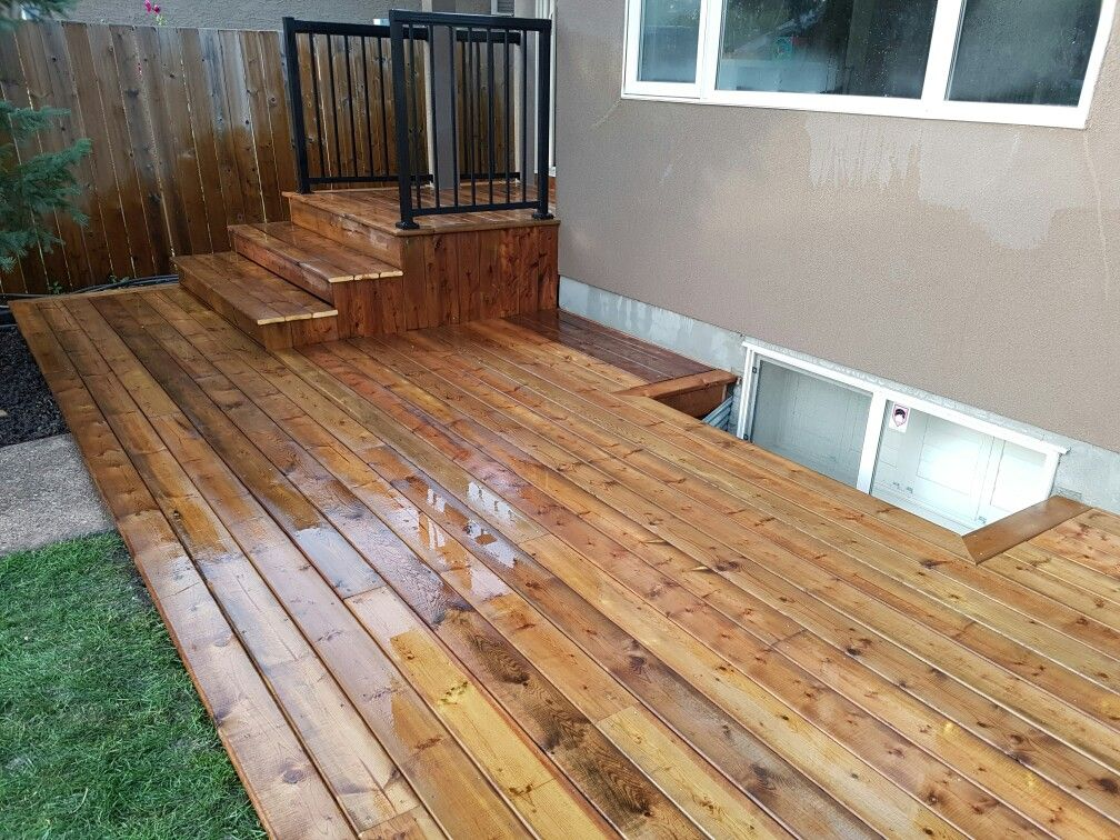Ground level deck Brown PT with a