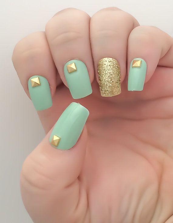 Mint Fake Nail Set Studded False Nails Glitter Acrylic Gold Artificial Press On