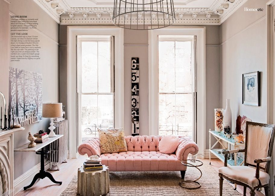 Delightful Pink Living Room ~ Delightful Mix Indeed ~ Hilary Robertson Home.