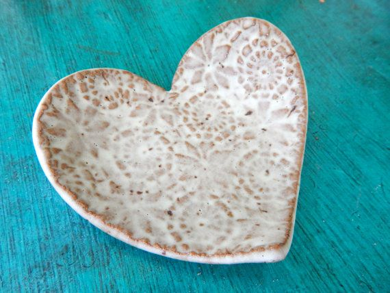 Lace Heart Dish Green by ShoeHouseStudio on Etsy, $7.00