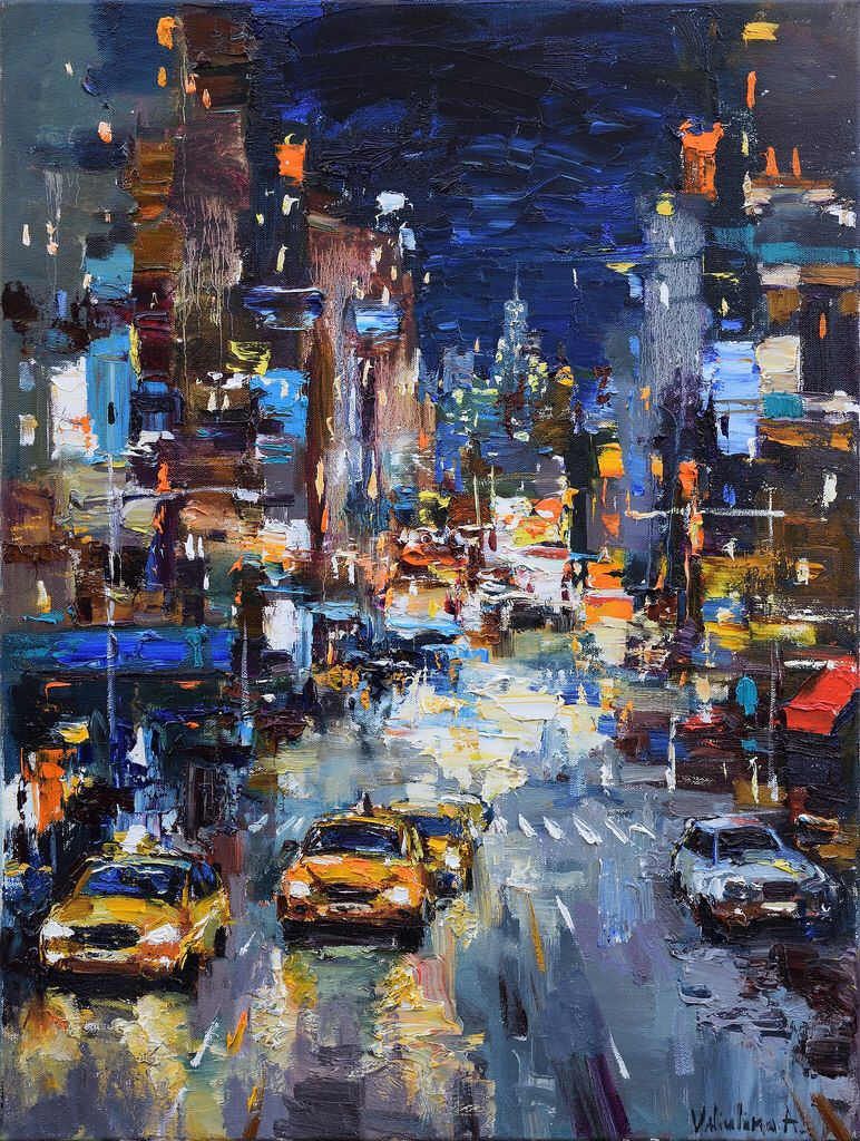 Night City Street Original Urban Landscape Painting Sold Cityscape Painting City Painting Landscape Paintings