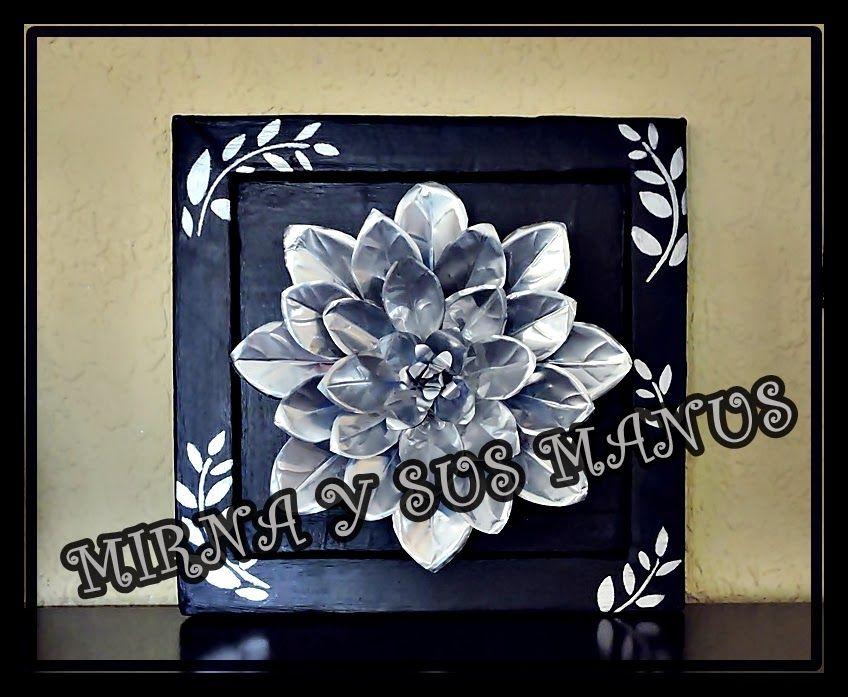Cuadro Flor Con Latas De Aluminio Latas De Refresco Latas De Aluminio Reciclaje De Latas