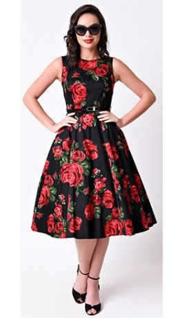 a48ed71b8488 Vintage 1950s Black & Red Rose Floral Hepburn Stretch Swing Dress ...