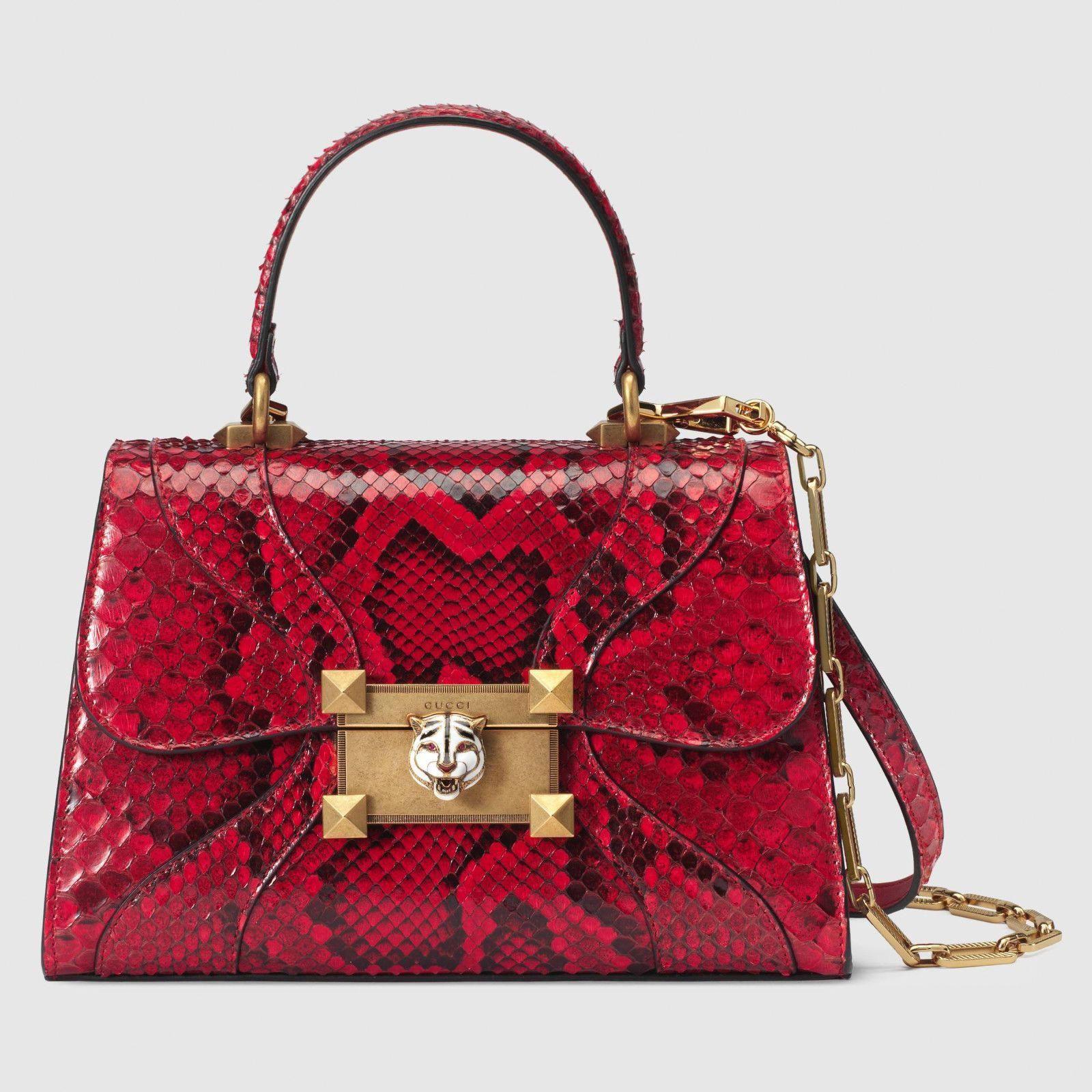 806d71fde4d 2018  Gucci Red Osiride Small Snakeskin Python Top-Handle Bag Purse Made In  Italy  Designerhandbags