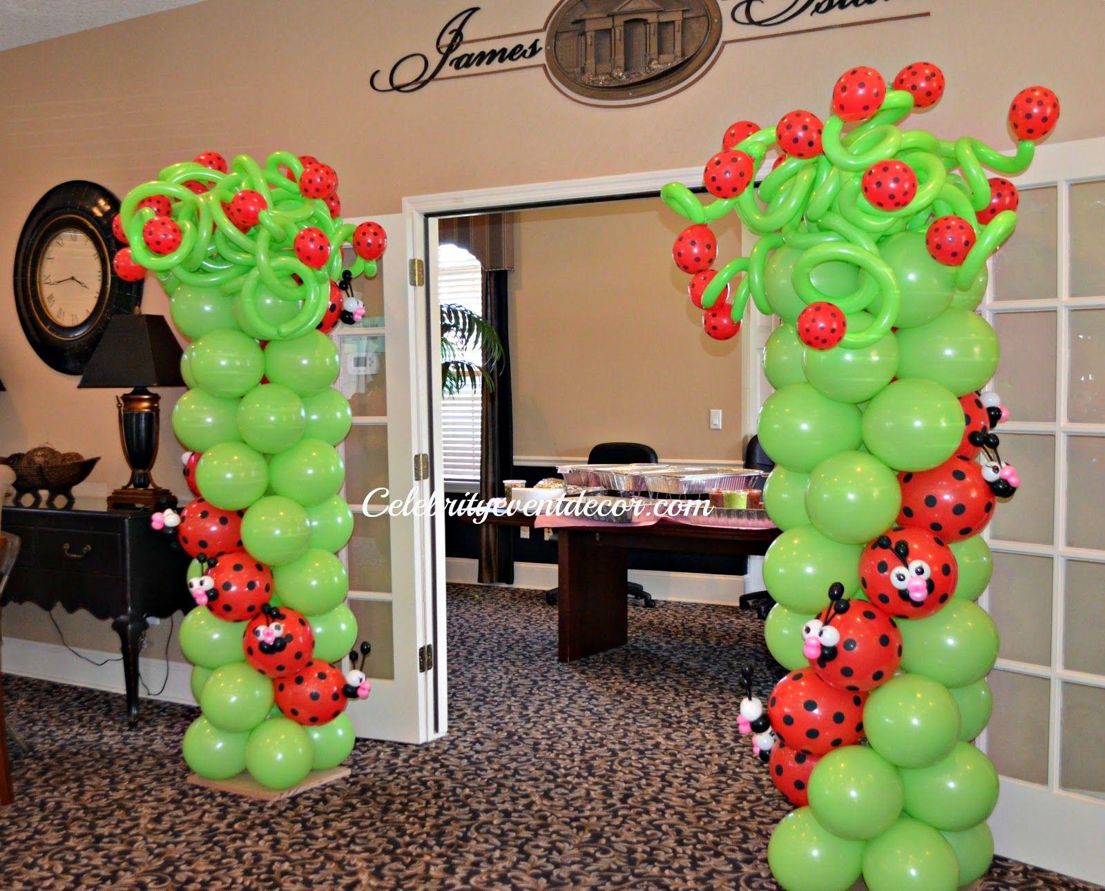 Ladybug balloon columns g girly party