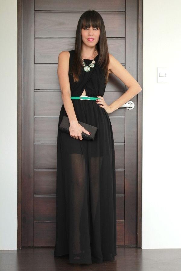 Vestido negro largo outfit