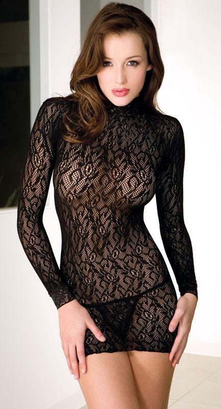c2d7e7efb03 Details about Long Sleeve Turtle Neck Lace Chemise Mini Dress Sexy ...