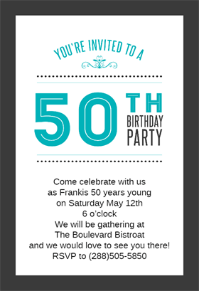 Classic 50th Birthday Party Printable Invitation Template Customize Add Text And Photos Print Download Send Online Or Order Printed