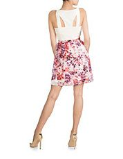 Sleeveless Solid Top with Printed Skirt