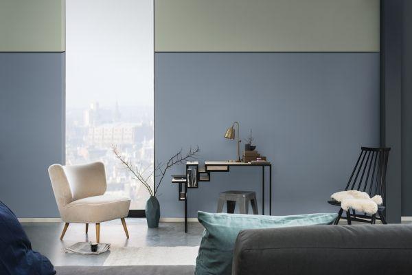 flexa interieur kleur van het jaar 2017 denim drift in de woonkamer verf kleurenpalet blauw voor muren meubels en woonaccessoires
