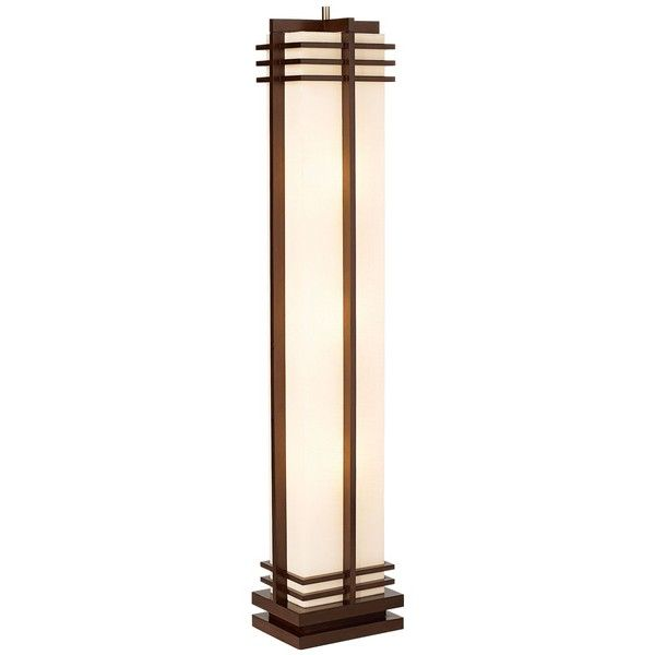 Possini Euro Design Deco Style Walnut Column Floor Lamp 200 Liked On Polyvore Featuring Home