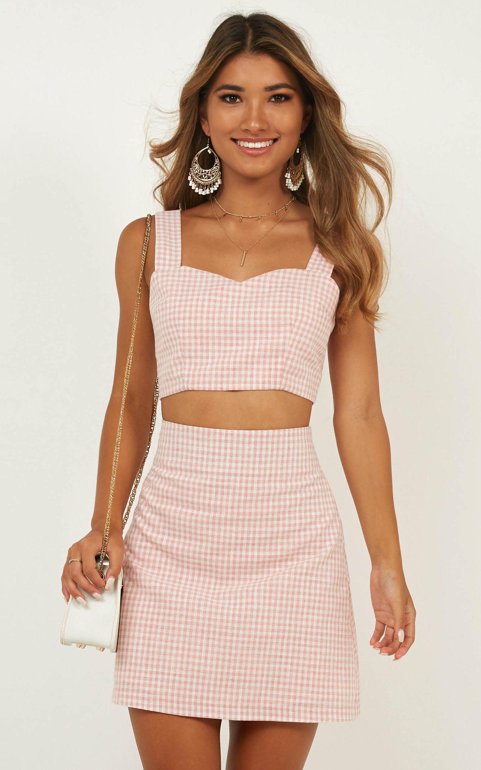 Teenage Love Two Piece Set In Blush Check Showpo Trendy Dresses Summer Fashion Two Piece Dress [ 2500 x 1563 Pixel ]