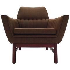 Norwegian Light Green Wool and Teak Armchair Midcentury Chair, 1960s